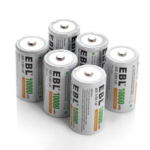 EBL 6 Pack 10,000mAh D Rechargeable Batteries (D Battery Rechargeable compare prices)