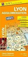 Plan de Lyon et de son agglomération (33 communes) - Avec localisation des stations Vélo'v et plan des transports (Métro, tramway)