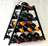 51BKIQWgD9L. SL160  Wine Rack Wood  10 Bottles Hardwood Stand  Black