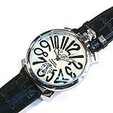 ブラック×ホワイト(H) トップリューズ式ビッグフェイス腕時計 マットタイプ47mm GaGa MILANO ガガミラノ好きに(全8色)