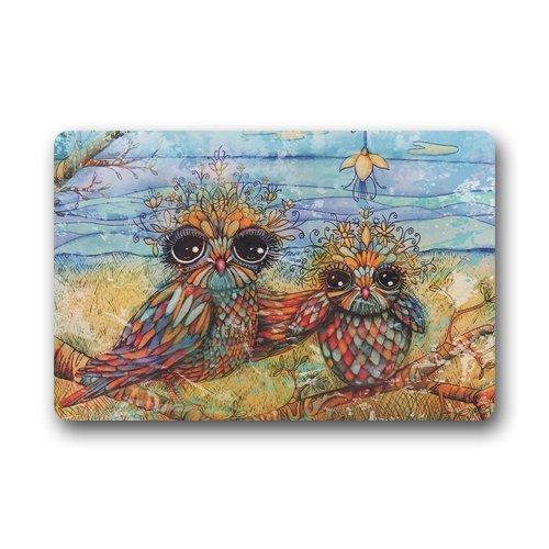 """Twin Owl Art Custom Door Mats Indoor Outdoor House Doormat 23.6""""L x 15.7""""W"""