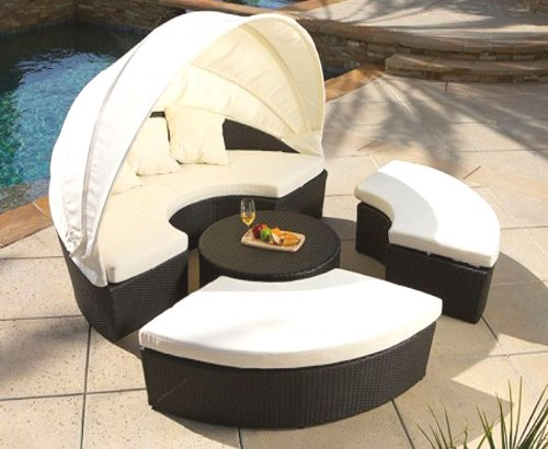 4 Piece Outdoor Canopy Sun Lounger Bed Patio Set with Ottomans, Cushions and Table Resin Wicker Rattan photo