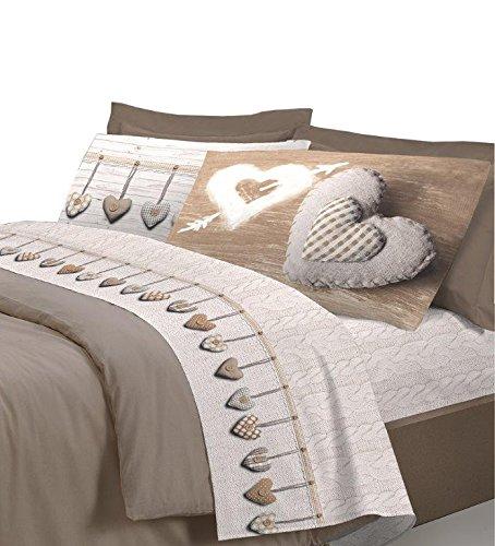 Completo lenzuola Cuori Cuore Beige CUPIDO Matrimoniale in cotone finissimo