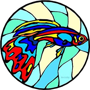 Red, Yellow & Blue Guppy Fish - Etched Vinyl Stained Glass Film, Static Cling Window Decal