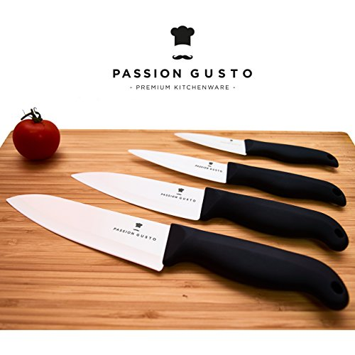 Ceramic knives - black / white - CATANA Series from Passion Gusto - Premium kitchen knife set in a beautiful