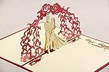 Tarjetas de felicitación tridimensional talladas novia y del novio tarjetas de boda con sus mejores deseos 5 tarjetas