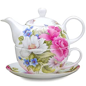 Gracie Bone China 4-Piece Tea For One Stacked 9-Ounce, Pink Grace's Rose from Gracie Bone China by Coastline Imports