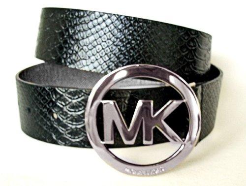 Michael Kors Mk Logo Black Patent Leather Silver Buckle Croco Reptile Belt Size Large