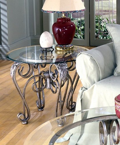 Image of Bordeaux Metal Round End Table with Glass Top (AZ00-21330x24307)