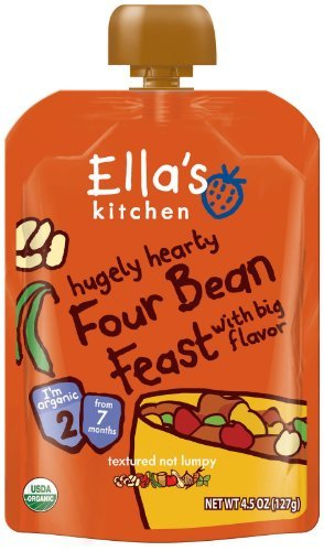 Ella'S Kitchen Organic Hugely Hearty Four Bean Feast With Big Flavor Baby Food - 4.5 Oz - 7 Pk
