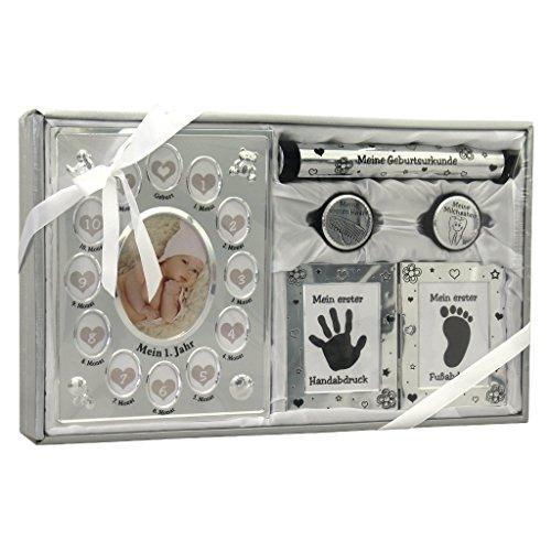 Geschenk Zur Geburt Taufgeschenk Baby Handabdruck Fußabdruck Set Mit Bilderrahmen Mein Erstes Jahr