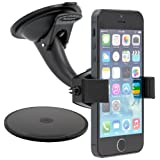 ARKON Sticky Suction Mini Windshield Dashboard Car Mount For Apple IPhone 5C/5S, Samsung Galaxy S5/S4/Note 3 And...
