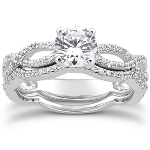 1.00CT Pave Diamond Engagement Wedding Ring Set 14K White Gold: Jewelry