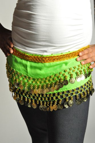 Kids Belly Dance Zumba Hip Scarf with Coins & Beads - Green