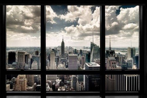 1art1 56668 Poster New York Fenêtre Qui Donne Sur La Skyline 91 x 61 cm