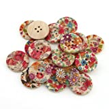 YARUIE 4 Holes Mixed Printed Flower Round Wood Sewing Button Scrapbooking Bulk 25 MM Burlywood(Pack of 20)
