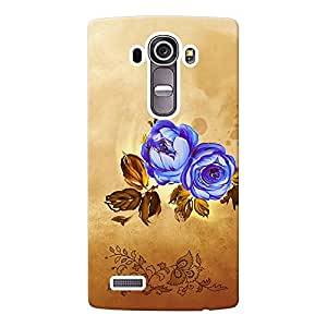 INKIF Blue Roses Couple Painting Designer Case Printed Mobile Back Cover for LG G4(Brown )