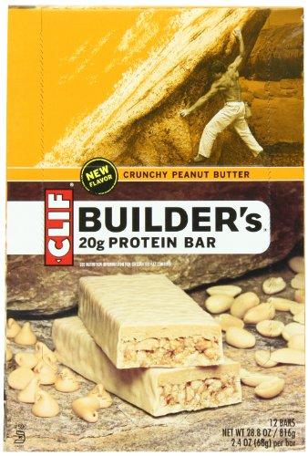 Clif Builder'S Bar Crunchy Peanut Butter, 2.4 Oz Bar, 12 Count