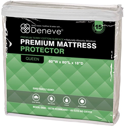 "Mattress Protector By Deneve® - White, 60""W X 80""L X 18""D - Fits Mattress Depths From 6"" To 18"" - Our Mattress Covers Are Premium Hypoallergenic - 100% Waterproof Mattress Cover - Waterproof Mattress Protector - Mattress Topper - Waterproof Bed Protector"