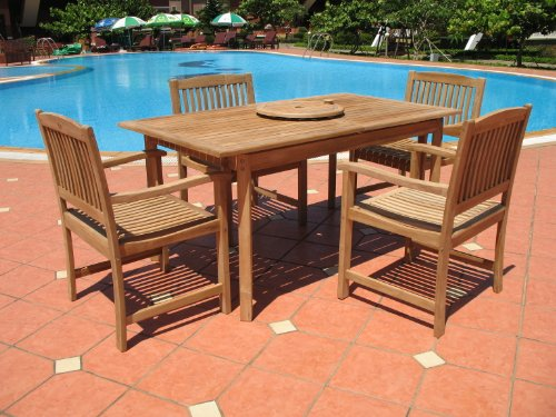 """New 5 Pc Luxurious Grade-A Teak Dining Set - 48"""" Round Butterfly Table and 4 Stacking Arm Chairs [Model:AB1]"""