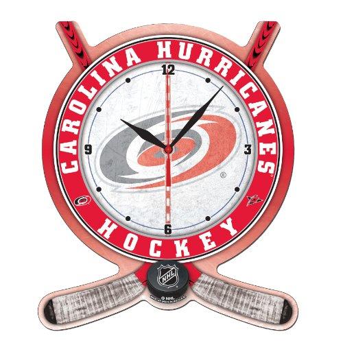 NHL Carolina Hurricanes High Definition Clock - Hockey Stick and Puck