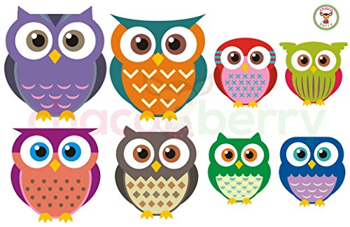 Owl Family Wall Decals, High Quality Fabric Kids Baby Nursery Room Wall Stickers - Sticks to Any Surface, Peels Off Clean, Reusable, Easy to Install