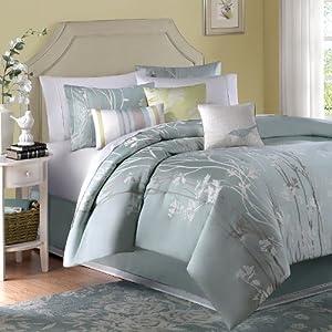 Madison Park Athena 7 Piece Jacquard Comforter Set, Queen, Green