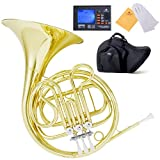 Mendini MFH-20 Single F key French Horn w/ Case & Chromatic Tuner with Metronome