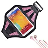 SumacLife Armband - REBEL PINK Sport Workout Neoprene Mesh w/ Earphone Holder for Samsung Galaxy Note 3 & 2 Android Phone + Pink Handsfree Microphone Headphones