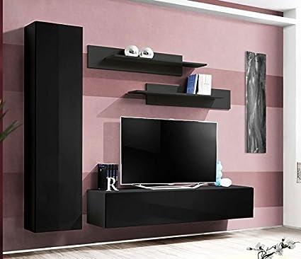 Muebles Bonitos - Conjunto de muebles de salón Olivia negro, (otros colores disponibles)