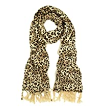 Premium Elegant Leopard Animal Print Fringe Scarf - Different Colors Available, Brown Leopard