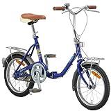 ARUN(アラン) 16インチ 折りたたみ自転車 [前後キャリア標準装備] ブルー KY-16A