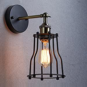 Industrial Iron Wall Sconces : Ecopower Industrial Edison Vintage Cage Wall Lamp 1 Light Iron Finished Rustic Wall Sconce ...