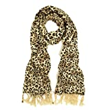 TrendsBlue Premium Elegant Leopard Animal Print Fringe Scarf - Different Colors Available