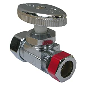 LASCO 06-7249 Straight Stop Valve, Standard Duty, 5/8-Inch Compression Inlet X 1/2-Inch Compression Outlet, Chrome