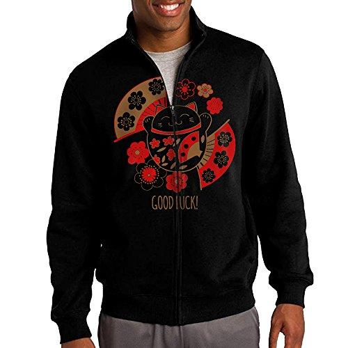 hehe-mens-zip-up-jacket-hooded-hoodie-maneki-lucky-cat-size-l-black
