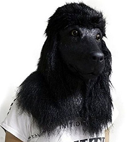 [Mememall Fashion Black Poodle Dog Mask Latex Overhead Animal Fancy Dress Canine Costume Unique] (Kids Deluxe Beetlejuice Costumes)