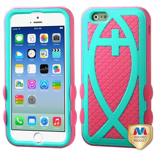 Cell Accessories For Less (Tm) Apple Iphone 6 (4.7) Hard Teal Green/Electric Pink Fish Hybrid Case Cover + Bundle (Stylus & Micro Cleaning Cloth) - By Thetargetbuys