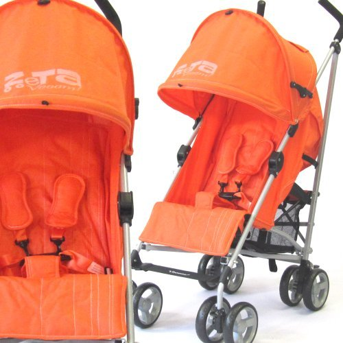 NEW BUGGY STROLLER PUSHCHAIR WITH LARGE SUN CANOPY HOOD - ZETA VOOOM - Orange with Rain Cover