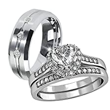 buy His Hers 3 Pcs Tungsten 3 Czs Matching Band Women Heart Cut Sterling Silver Wedding Engagement Ring Set