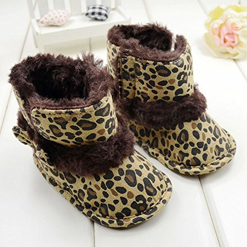Warm Lovely Soft Sole Baby Girls Bowknot Leopard Snow Fur Boots Crib Shoes
