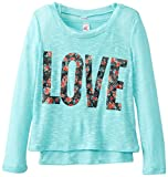 Beautees Big Girls Love Lightweight Sweater with Tank, Aqua, Medium
