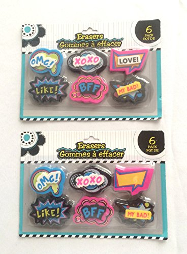 12 Emotion Erasers OMG! XOXO! LOVE! LIKE! BFF! MY BAD - 1