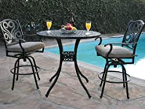 Big Sale Outdoor Patio Furniture Cast Aluminum 3 Piece Bar Stool Table Set with 2 Arm Swivel Chairs Cbm1290