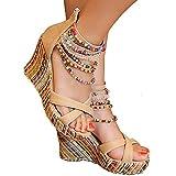 Getmorebeauty Women's Wedge Sandals Pearls Across The Top Platform High Heels 9 B(M) US