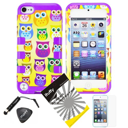 4 Items Combo: Ituffy(Tm) Lcd Screen Protector Film + Mini Stylus Pen + Case Opener + Yellow Purple Green Blue Pink Cartoon Owl Design Rubberized Hard Plastic + Purple Soft Rubber Tpu Skin Dual Layer Tough Hybrid Case For Apple Ipod Touch 5 (5Th Generatio