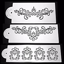 LussoLiv 3Pcs Luxury Lace Plastic Cake Stencil Wedding Cake Side Decorating Tool