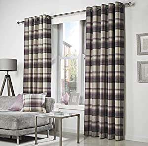 Woven Tartan Purple Cream 90x90 229x229cm Lined Ring Top Curtains Drapes by Curtains