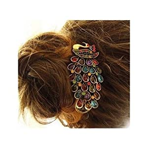 SODIAL(TM) Lovely Vintage Jewelry Crystal Peacock Hair Clip