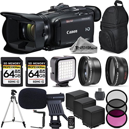 Canon VIXIA HF G40 Full HD Camcorder, Built-In Wi-Fi with FTP Transfer + Wide Angle Lens + 2.2x Telephoto HD LenS + Filter Accessory Kit (UV, CPL, FLD) 2 Of 64GB Memory Card + Shotgun Microphone (10000 Fps compare prices)